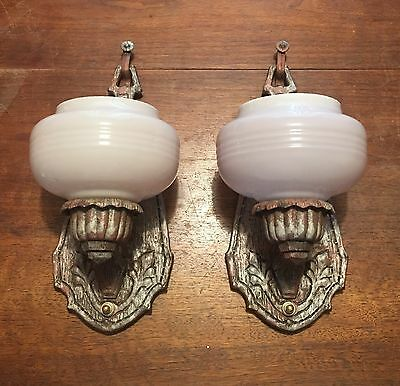 1930's Matched Pair Antique Art Deco Wall Sconces Custard Glass Slip Shades
