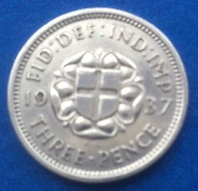 1937 King George Vi Silver Threepence Coin