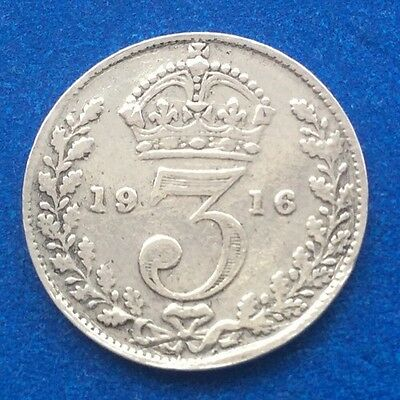 1916 King George V Silver Threepence Coin