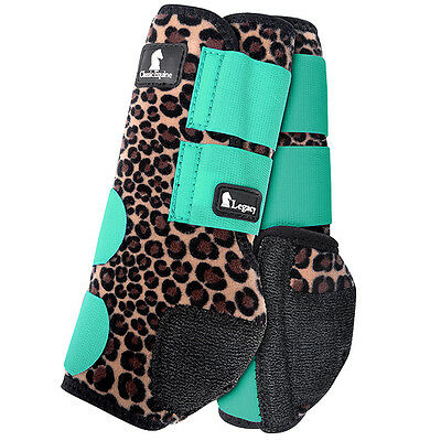 Large Classic Equine Legacy System Horse Leg Neoprene Front Boots Cheetah Mint