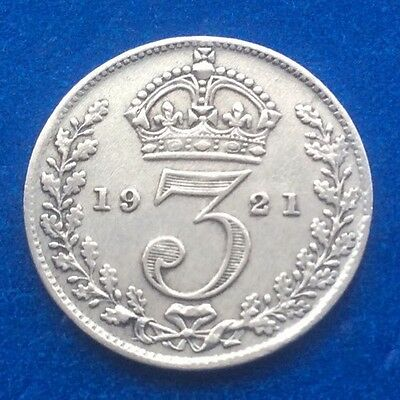 1921 King George V Silver Threepence Coin