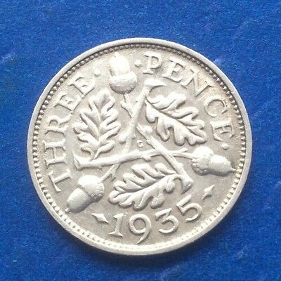 1935 King George V Silver (0500) Threepence Coin