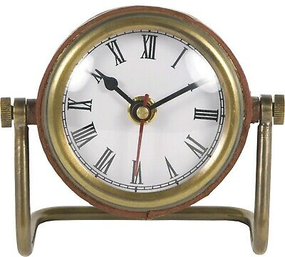 Brass & Leather Table Clock - Nautical by Batela