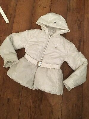 S&D Studs & Diamonds Kids Puffa Coat Le Chic White Shimmer Age 8 Belted Designer