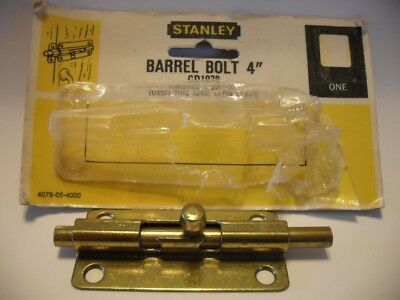 "Vtg NOS Brass/Steel 4"" Stanley Barrel Bolt Latch Gate Door Cupboard (No Keeper)"