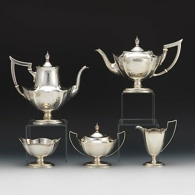 """Gorham Sterling Silver Five Piece Coffee Tea Service, """"Plymouth"""" Pattern, ca. 19"""