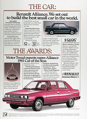 1983 RENAULT ALLIANCE Genuine Vintage Advertisement ~ MSRP $5,695