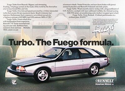 1983 RENAULT FUEGO TURBO Genuine Vintage Advertisement ~ MSRP $11,095