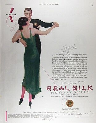 1925 REAL SILK HOSIERY Genuine Vintage Advertisement ~ FIT FOR HER