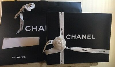 "NEW CHANEL Purse Box 16"" w/24"" Gift Bag & Cleaning Cloth ,Dust Bag, Ribbon 108"""