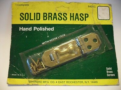 Vintage NOS Solid Polished BRASS Small Hinged HASP with Hook Lock Made In U.S.A.
