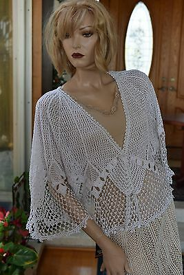 Vintage All Hand Made Crochet Cotton Crochet Jacket White Fit S to L