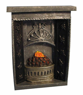 Small Grey Fireplace, Dolls House Miniatures, Fire Fireplace Miniature 1/12th