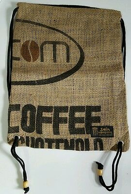 Java Monster Drawstring Bags - Burlap - Assorted Patterns. New.