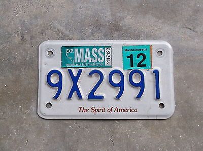 Massachusetts 2012 motorcycle License Plate  # 9X2991
