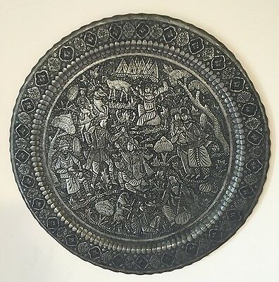 Antique Persian Isfahan Copper Hand Carved Qajar Decoration Tray Village Scene