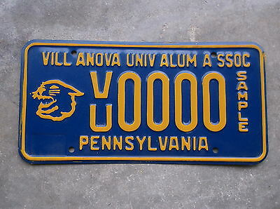 Pennsylvania Villanova University SAMPLE License Plate  #  0000