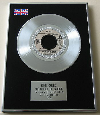"""BEE GEES You Should Be Dancing 7"""" Single PLATINUM DISC Presentation"""
