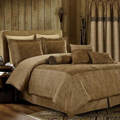 7pc Brown Paisley Embossed Microsuede Oversized Comforter Set or 4pc Curtain Set