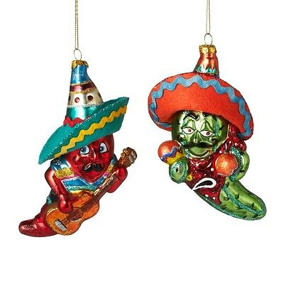 2018 Chili Mexican Dance Set of 2 Christmas Tree Ornament Holiday Gift 121040