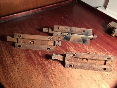 Vintage lot 4 Old Barn Door Slide Lock Gate Latch Dead Bolt 9 inches Primitive