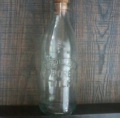 "Vintage Absolutely Pure Milk Bottle With Embossed Cow With Cork ""italy"""
