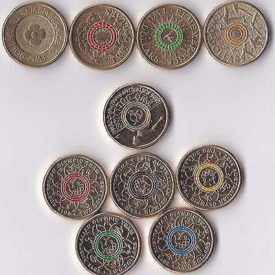 $2- Coloured Two Dollar Coins-  anzac & OLYMPIC -Green,Yellow, Red, Black, Blue
