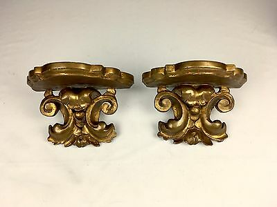Antique 1800s Pair Hand Carved Wood Gilded Gold Wall Shelves