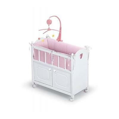 Badger Basket Doll Crib with Cabinet, Bedding and Musical to Mobile