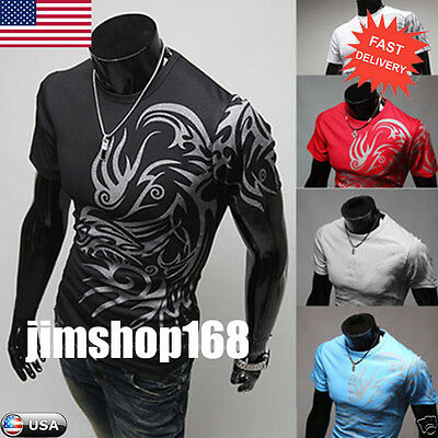 Men's Short Sleeve T-Shirts Tops Sports Tees Slim Design Bottoming Shirt Blouse
