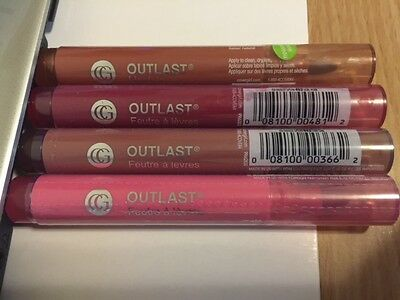 4 X COVERGIRL OUTLAST LIPSTAIN Bundle EverBloom Kiss,Cinnamon Smile n 2 more sha