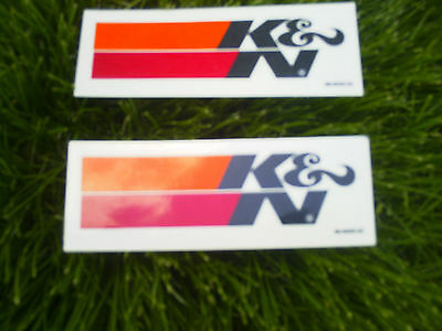 "TWO K& N FILTER  RACING DECAL size 1 1/2"" x 4 1/2"" Black letters"