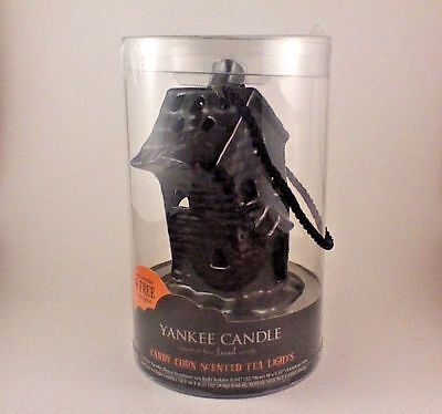 YANKEE CANDLE SPOOKY HAUNTED HOUSE tea light candle holder plus 4 candy corn