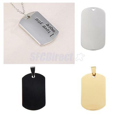 Square Shape Engraving-Personalized Message Stainless Steel Blank Tag Pendant