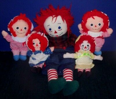 Collection of Raggedy Ann & Andy Dolls - 4 Small Raggedy Ann's & 1 Andy 20""
