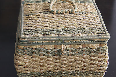 Vintage Sewing Basket Woven Sewing Box made in Japan contents