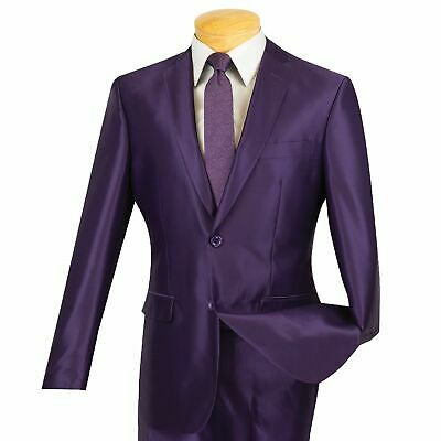 Men's Purple 2 Button Slim-Fit Sharkskin Suit NEW