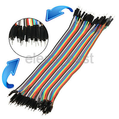 40pcs 2.54mm 1p-1p Connector Male to Male Dupont Cable Wire 30cm Line