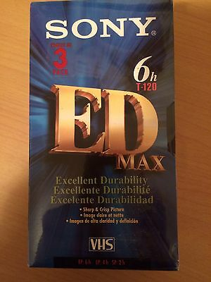 "New VHS 6 Hour ED Max T120 Set of ""3"" Sealed Premium Grade Blank Tapes"