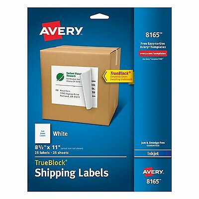 Avery Full Size Sheets Labels For Inkjet Printer Shipping Mailing Label Stickers