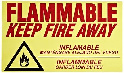 Flammable Keep Fire Away Decal Sticker Sign - Safety Outdoor Storage Cabinet Acc