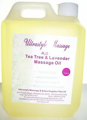 ULTRASTYLE MASSAGE OIL 1 litre TEA TREE & LAVENDER H2O dispersible relaxation