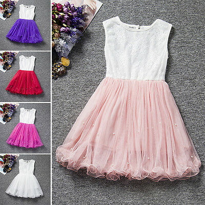 Flower Girls Princess Pageant Wedding Party Dress Toddler Kids Lace Tulle Gown