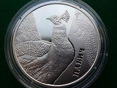 Ukraine , 5 UAH  Peacock silver coin 2016 year