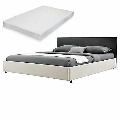 My.Bed Upholstered Bed+Mattress 180x200cm black/white imitation leather