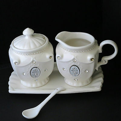 Cream China Milk and Sugar set with tray and spoon - Christmas Gift Idea