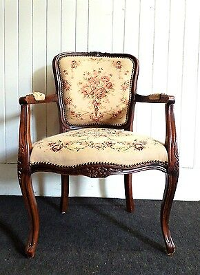 Antique carved french / italian style parlour arm chair / armchair
