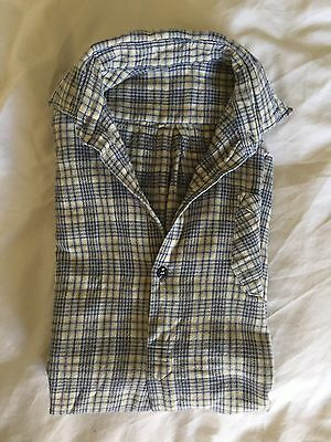 Vintage 1940's Boy's Winter Shirt Plaid Grey Yellow White Black Excellent