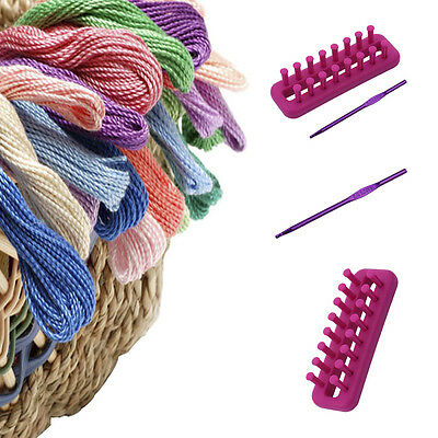 Squre Knitting Looms Knitter Ring Scarf Kit With Needles Hook Knitting Tool New