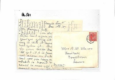 HL531 1907 GB Elwell Sea Lewes Sussex Cover/Letter